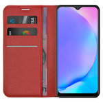 Leather Wallet Case & Card Holder Pouch for Vivo Y17 / Y12 - Red